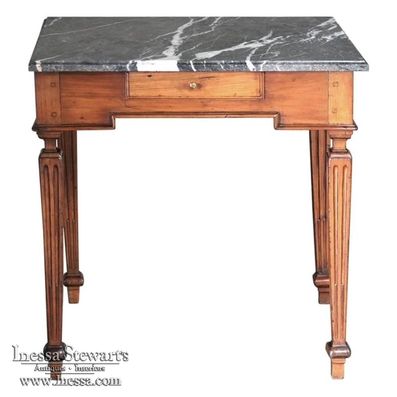 18th century country french marble top end table inessa for Html table th always on top