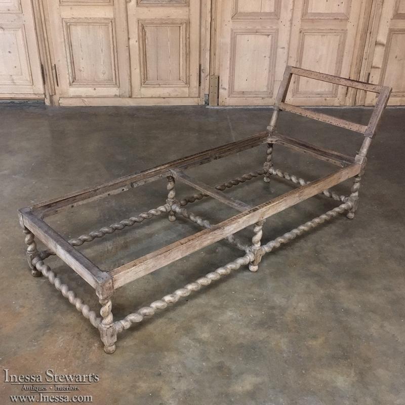 19th Century Barley Twist Walnut Chaise Lounge Frame