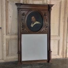 19th Century French Henri II Walnut Trumeau
