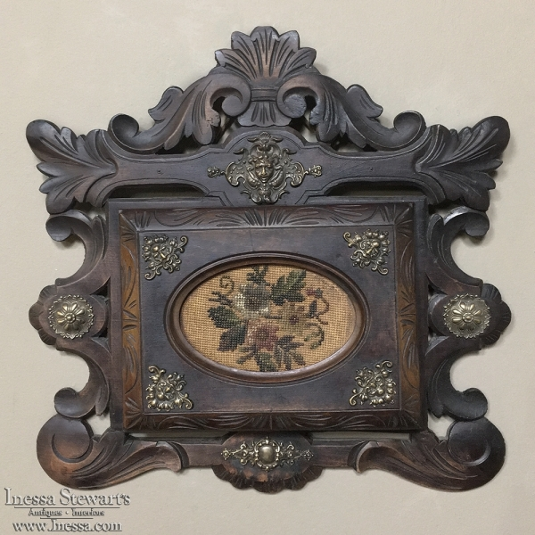 19th Century Carved Wood and Needlepoint Letter Holder