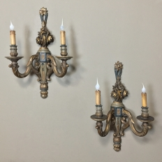 PAIR Carved Wood Painted & Gilded Neoclassical Sconces
