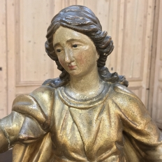 19th Century Giltwood Polychrome Statue of Madonna
