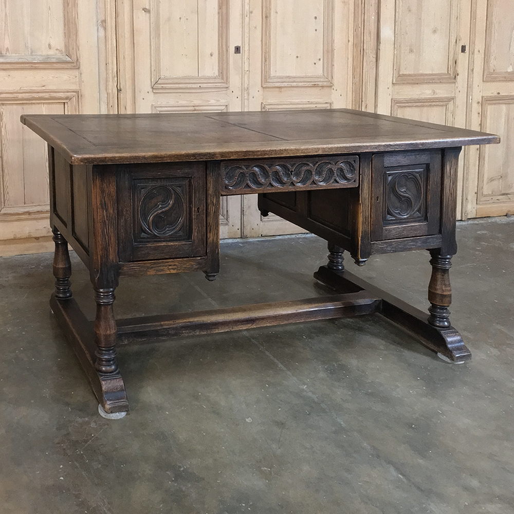 Antique Gothic Oak Desk With Leather Top Inessa Stewart