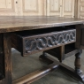 Antique Gothic Oak Desk with Leather Top