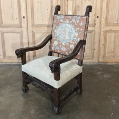 19th Century Spanish Armchair with Needlepoint Tapestry