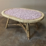 Mid-Century Rattan Coffee Table with Tile Top