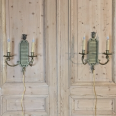 Pair Antique Bronze Neoclassical Electrified Wall Sconces