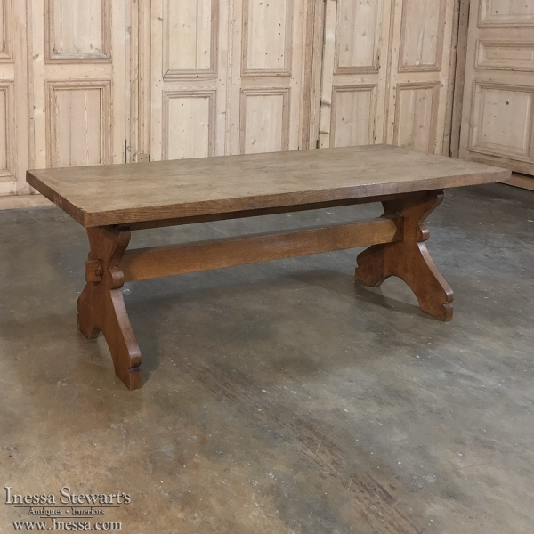 Rustic Country French Oak Trestle Coffee Table