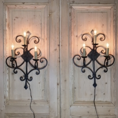 Pair Antique Italian Wrought Iron Electrified Wall Sconces