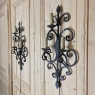 Pair Antique Wrought Iron Electrified Wall Sconces