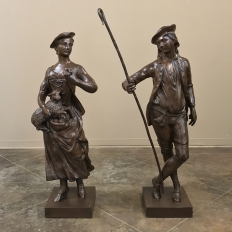 Pair Garden Statues, Provencal Male and Female Figures