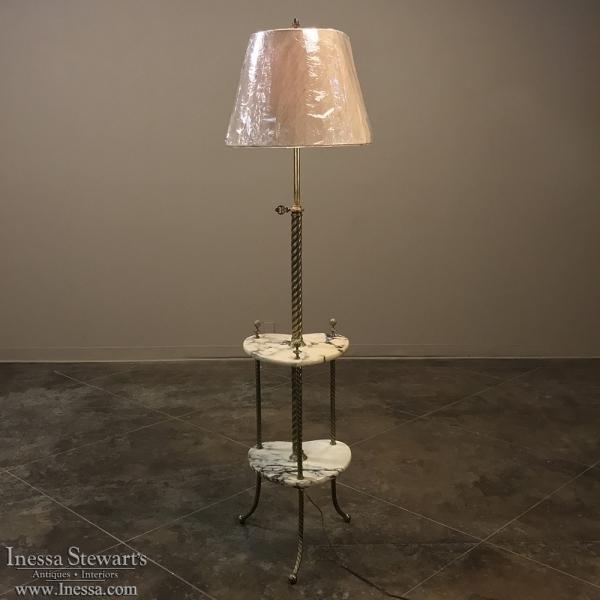19th Century Marble & Brass Floor Lamp
