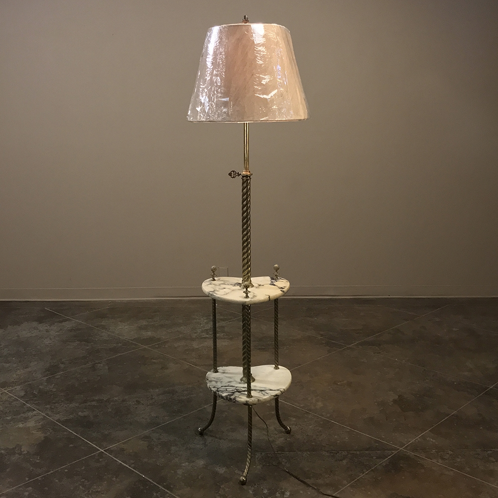 19th Century Marble Amp Brass Oil Burning Floor Lamp