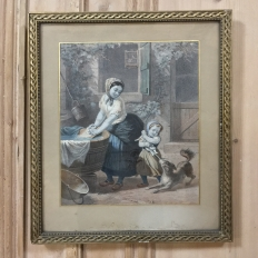 19th Century Framed Hand-Colored Engraving