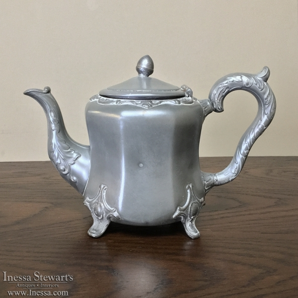 Antique Embossed Pewter Teapot