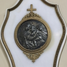 19th Century Marble & Bronze Holy Water Font