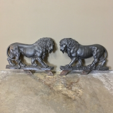 Pair 19th Century Architectural Tin Lion Statues