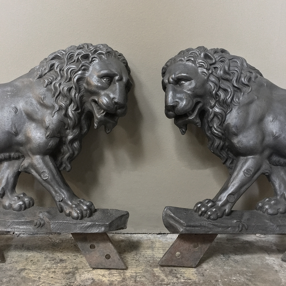 Pair 19th Century Architectural Cast Iron Lion Statues