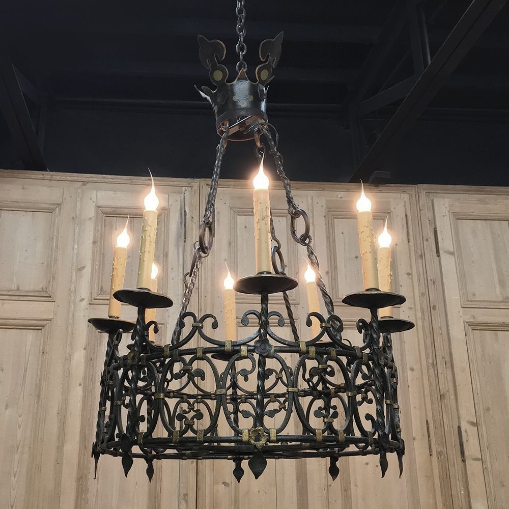 Antique Country French Wrought Iron Chandelier Inessa Stewart S Antiques