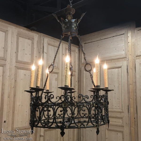 Antique Country French Wrought Iron Chandelier - Antique Country French Wrought Iron Chandelier - Inessa Stewart's