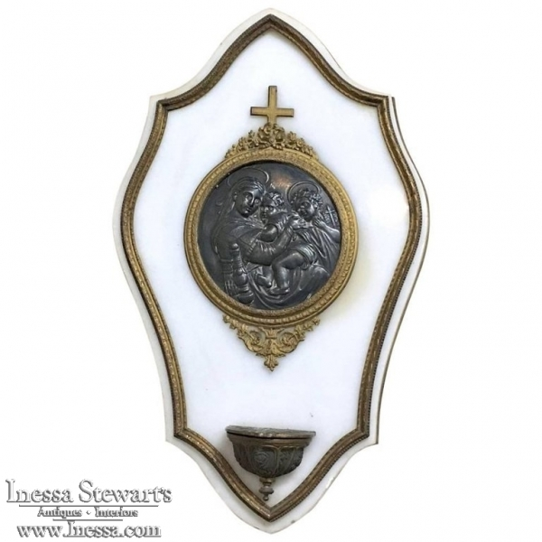 19th Century Carrara Marble & Bronze Holy Water Font