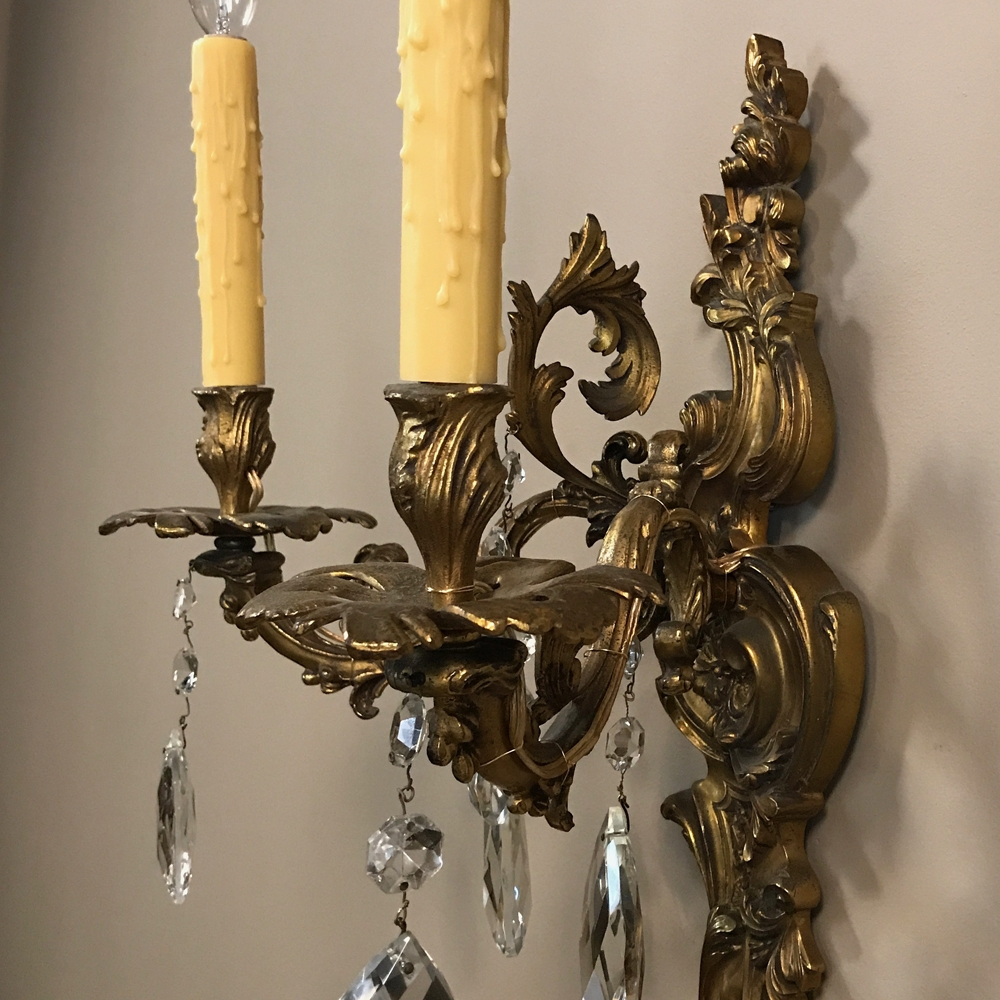 Pair Antique Louis XV Brass & Crystal Wall Sconces