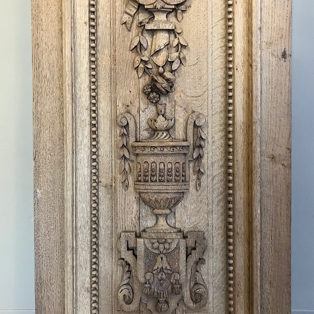 Grand 19th Century French Louis Xvi Hand Carved Oak Panel