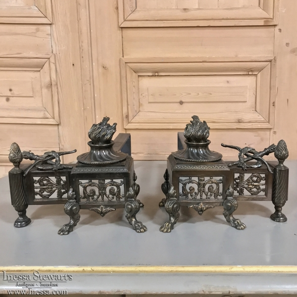 Pair 19th Century French Bronze Andirons