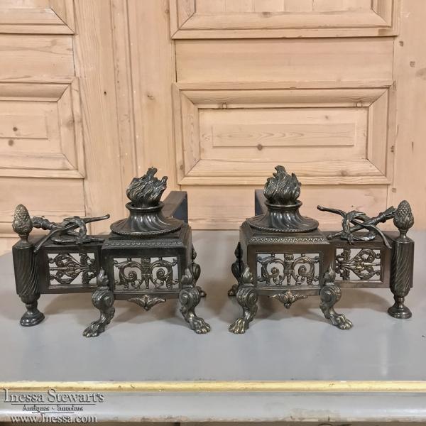 Pair 19th Century French Louis XVI Bronze Andirons