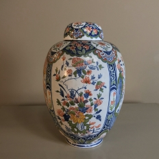 19th Century Oriental Style Delft Vase with Lid