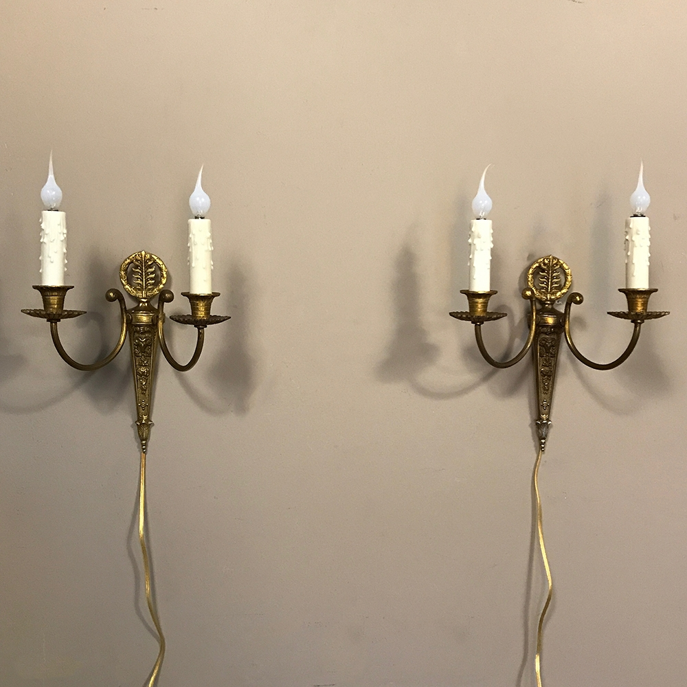 Pair Antique French Bronze Wall Sconces Inessa Stewarts Antiques