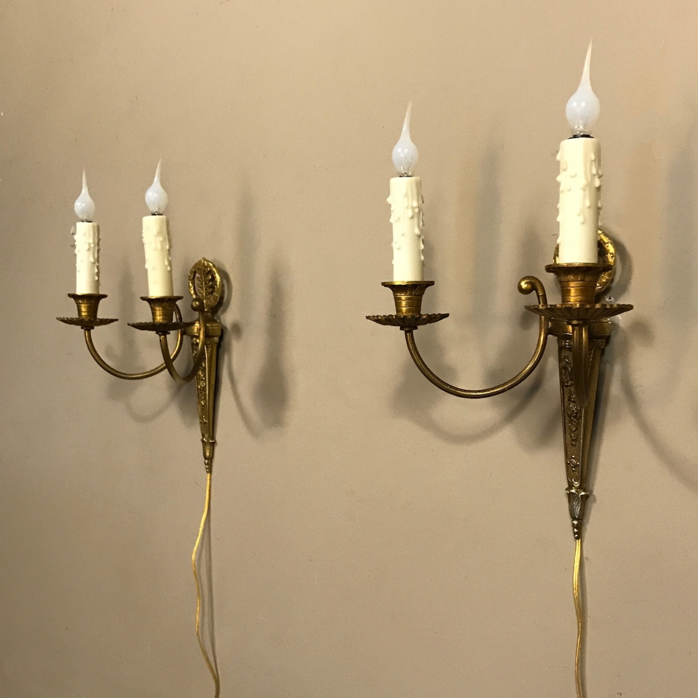 Pair Antique French Bronze Wall Sconces