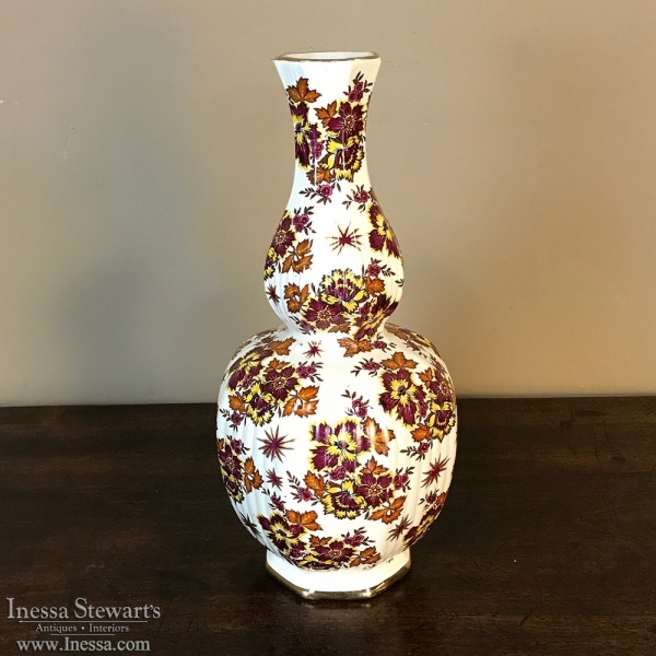 Antique Hand Painted Flower Vase By Boch Inessa Stewarts Antiques