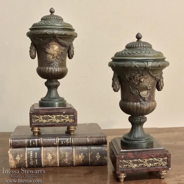 Pair 19th Century French Mantel Urns ca. 1890