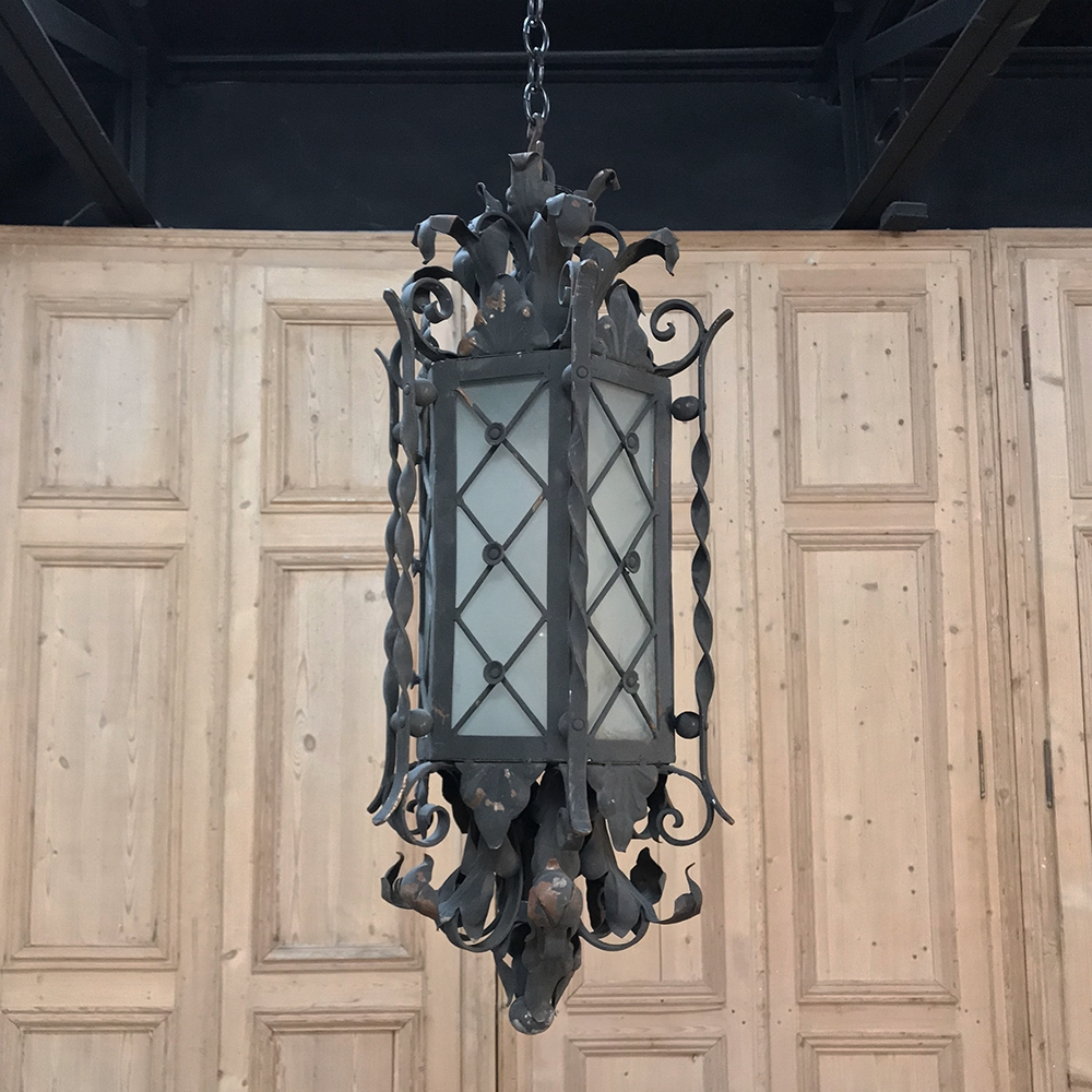 Antique Wrought Iron And Frosted Glass Lantern
