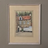 Pair Mid-Century Framed Ink and Watercolor Signed Paintings by H.Goyvaerts