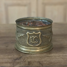 Antique Embossed Brass Jardiniere