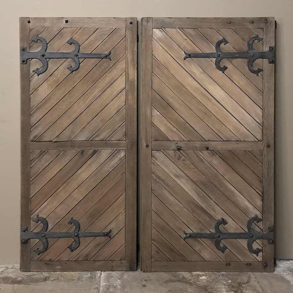 Pair 19th Century Solid Oak Shutters With Forged Iron