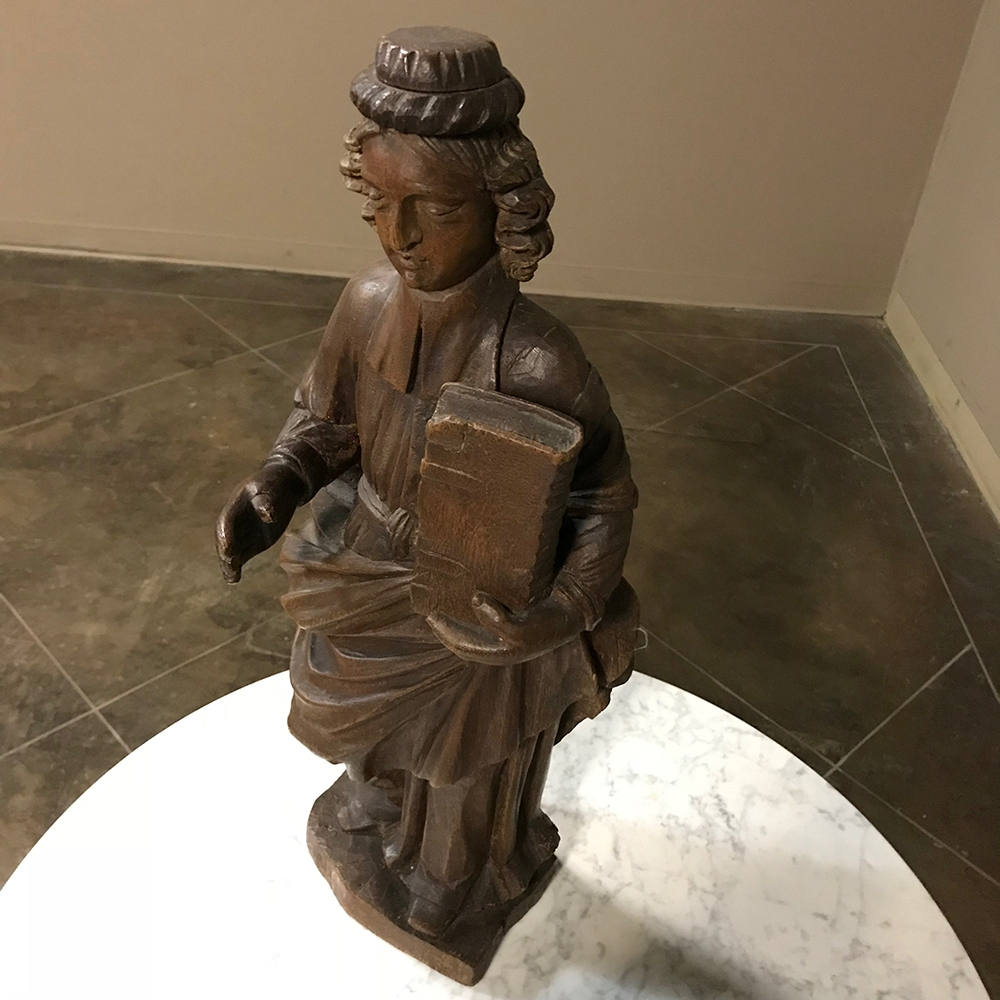18th Century Antique Hand Carved Saint Wood Statue