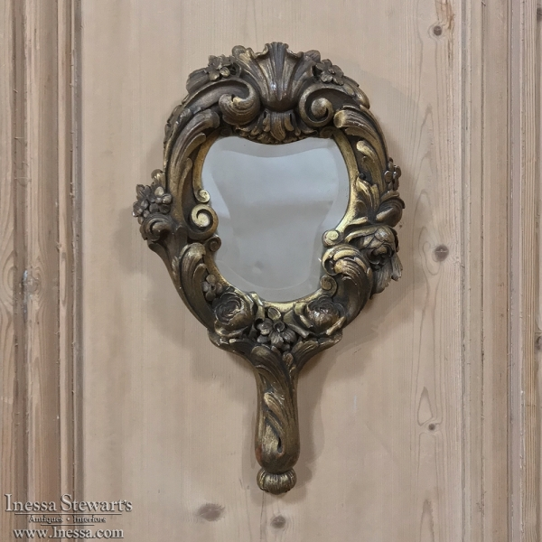 19th Century Hand-Carved Giltwood Hand Mirror