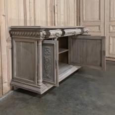 19th Century French Henri II White Washed Walnut Buffet