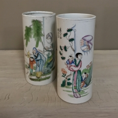 Pair 19th Century Oriental Import Porcelain Vases