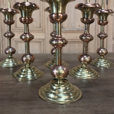 PAIR 19th Century Solid Copper & Brass Alter Candlesticks