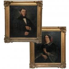 Pair Early 19th Century Framed Oil Portraits on Canvas