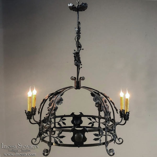 Antique italian wrought iron chandelier inessa stewarts antiques antique italian wrought iron chandelier aloadofball Gallery