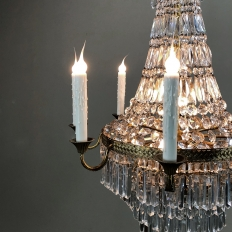Antique French Louis XVI Sack of Pearls Crystal Chandelier
