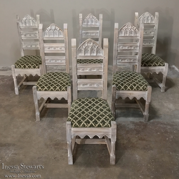 - Set Of 6 Antique Rustic Gothic Stripped Dining Chairs