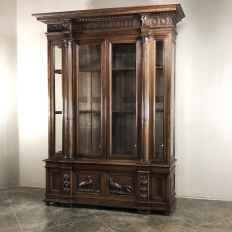 Grand 19th Century Italian Walnut Neoclassical Bookcase
