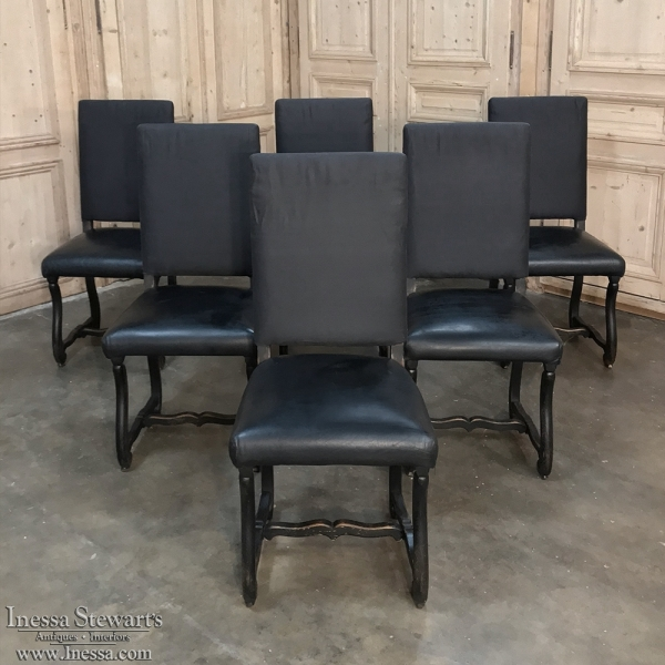 Set of 6 Antique French Os de Mouton Painted Dining Chairs with Leather