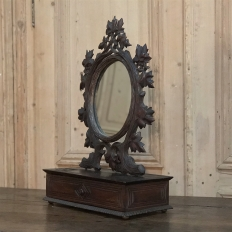 19th Century Hand Carved Black Forest Vanity Mirror-Box